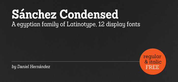 Sánchez Condensed free font