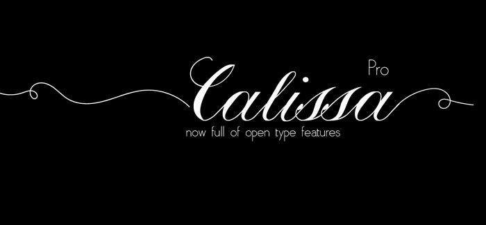 Calissa pro font is a handwritten copperplate calligraphy