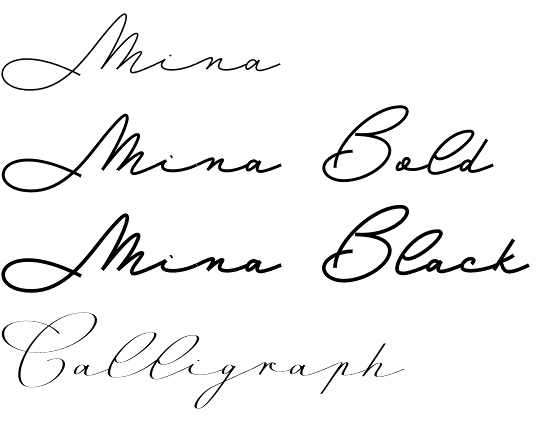 Mina font family by resistenza the elegance of natural