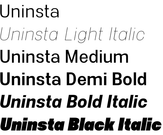 Uninsta font family by The Northern Block
