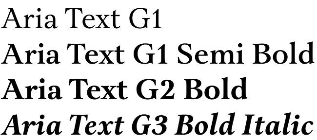 Aria Text font
