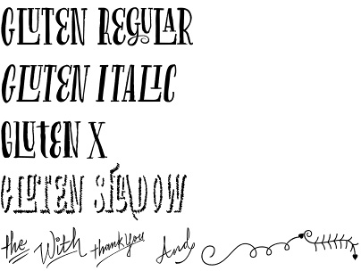 Gluten font by Andinistas - an artistic multi-layered typeface