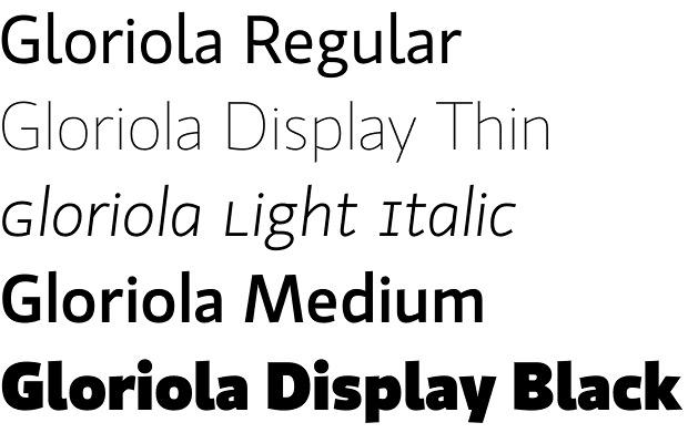 Gloriola font family