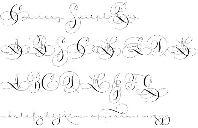 Courtesy Script Pro font