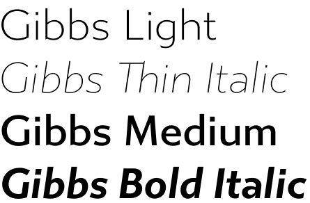 Gibbs font is created by Gregory Shutters